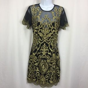 Ark & Co Metallic Gold Embroidery Dress On Back